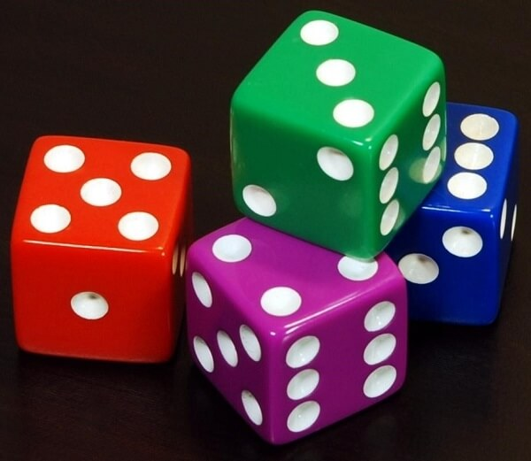 Opposite sides of a die add up to seven