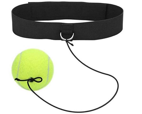 Tennis ball with a head strap