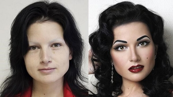 makeup on lady