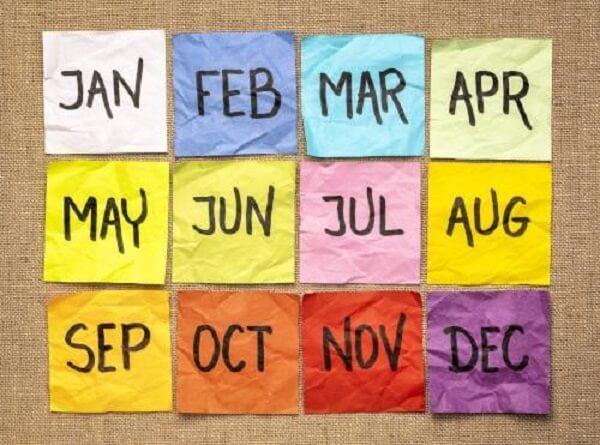 twelve months in a year