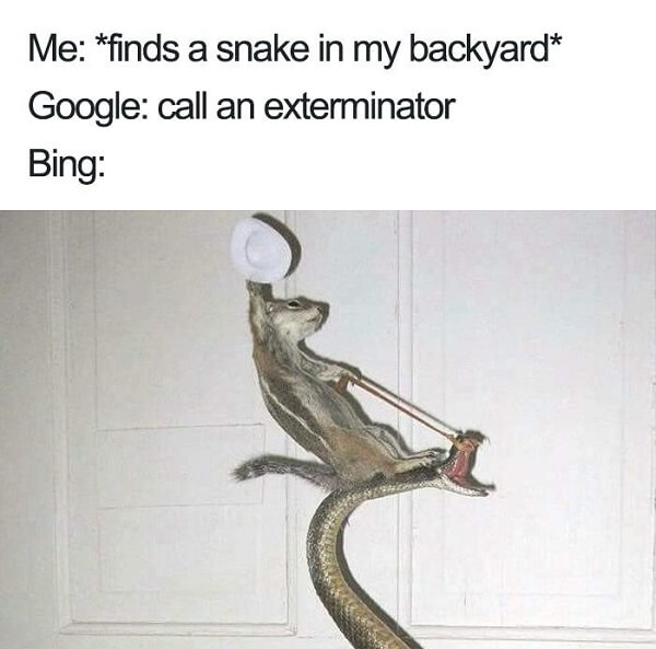 Bing users upon discovering a snake