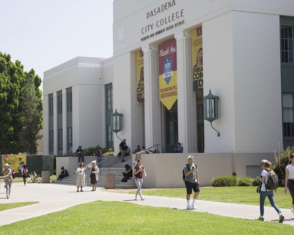 Landmarks in the stadium at Pasadena City College