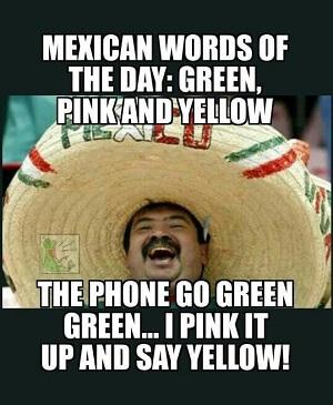 green pink yellow